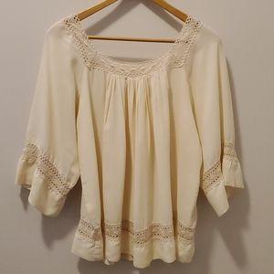 Vintage Hi Georgie Crochet Boho Blouse